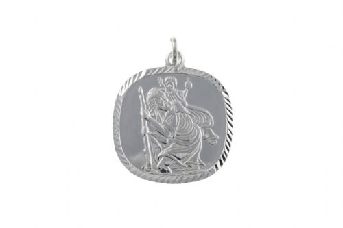 Sterling Silver Cushion Shaped St. Christopher Including Chain BU2136